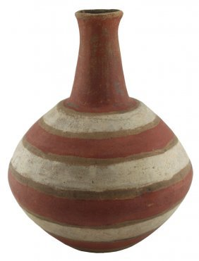 "11 1/2"" H. Polychrome Quapaw Bottle. Lee Co, Ar."