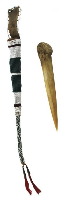 "6 7/16"" Bone Awl And 15"" Beaded Case. Sioux"