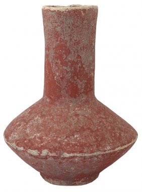 "10"" Mississippian Bottle. Ar. Old Town Red Paint In"