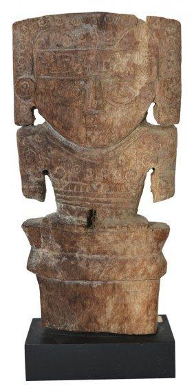 "Very Rare 6 1/4"" Wooden Human Figure. Peru. Moche"