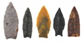 """5 Paleo/early Archaic Points. 1 5/8""""-2"""". Belen,"""