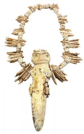 """6"""" Shell Alligator Man Pendant With 12"""" Shell Necklace."""