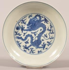 Chinese Blue And White Porcelain Dragon Dish.