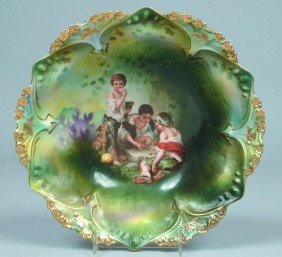 "RS Prussia Bowl, 10.5""d, Mold 82, Posies And Clover"