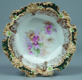 "RS Prussia Bowl, 10.5""d, A Floral Border Mold In Bei"