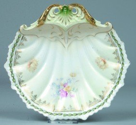"""RS Prussia Shell Dish, 8""""d.; Mold 20; Floral Spray"""