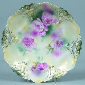"RS Prussia Cake Plate, 11""d., Mold 29; Pink Poppie"