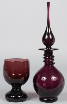 Two Pieces Amethyst Blenko, Decanter With Neck Wrap