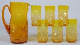 Six Jonquil Dimpled Crackle Tumblers With Pitcher, A