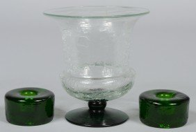 Blenko Crystal Crackle Urn With Emerald Foot, Unmar