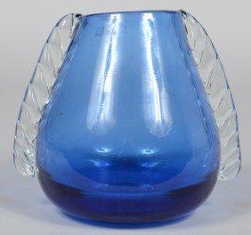 Blue Blenko Ear Vase, Applied Crystal Roped Ears, G