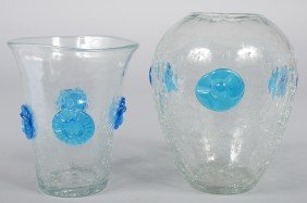 Two Crystal Blenko Crackle Glass Vases, Both With