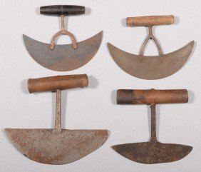Four Crescent Shaped Food Choppers. Shaped Wooden