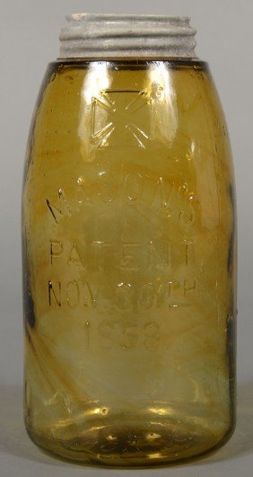 """Amber Glass Mason Fruit Jar With """"H.F.C.Co."""" In Cr"""