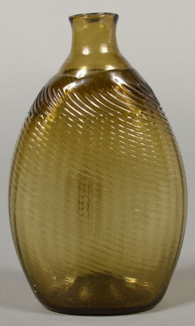"Olive Amber ""Pitkin"" Flask, 32 Rib With Open Ponti"