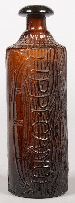 """Dark Amber """"Tippecanoe"""" Rochester N.Y. Bottle, Cyl"""