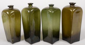 Four Olive Green Blown Glass Case Bottles. Tall Sq