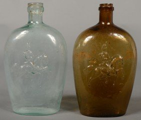 Two Pictorial Flasks With Soldier Astride A Trotti