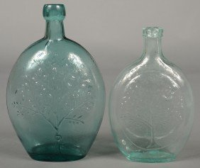 "Two Aquamarine Glass Flasks; 1st Is A Pint Size ""S"