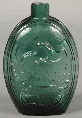 Emerald Green Glass American Eagle Pint Flask By K