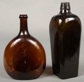 Two Blown Glass Bottles; 1st Is A Amber Glass Ches