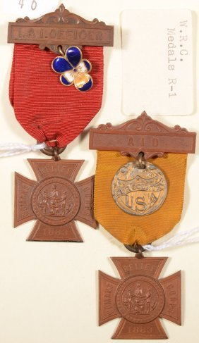 "Lot Of (2) Women's Relief Corps Badges:""I .& I. Off"