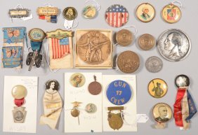 Assortment Of Various Medals Plus Pinback Buttons B