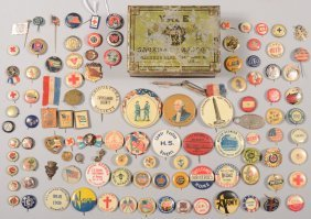 Lot Of Lithograph On Tin Pin-back Buttons, One And