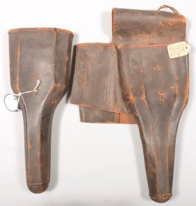Pair Of Leather Holsters For Horse Pistols. One Is