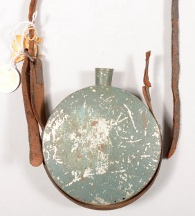Green Painted Tin Drum Canteen (stopper Missing) Ha