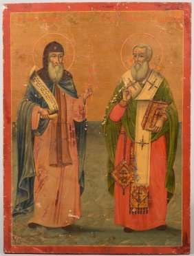 Iconic Painting Of Two Saints. Russian, Post 1880,