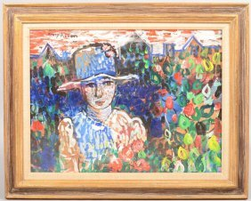 Modernist Portrait Of A Woman In Hat With Flowers,