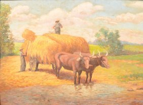 Making Hay Painting, Oil On Canvas Board. Image Of
