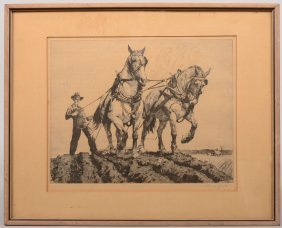 """Spring Plowing"" Etching Of A Two Horse Plowing Tea"