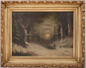 Winter Scene Of Men Hauling Logs By Moonlight, Oil