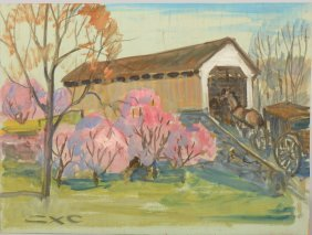 Buggy Entering A Covered Bridge, Acrylic On Plywood
