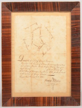 Pen And Ink Deed Map On Paper From Lebanon County,
