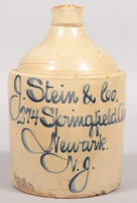 Salt Glazed Stoneware Advertising Jug. Straight Sid