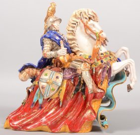 Large Terra Cotta Molded Polychrome Sculpture Of A