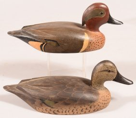 Decoy Lot Of (2): Pair Of Matched Green Wing Teal By