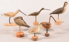 Decoy Lot Of (6) Shorebird Carvings All On Bases, All