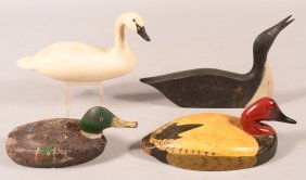 Decoy Lot Of (4): Small Size Swan Carving; Open Mouth