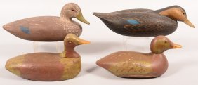 Decoy Lot Of (4): Swimming Style Black Duck Hollow New