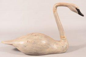 Decoy Lot Of (1): Full Size Solid Wood Swan Decoy