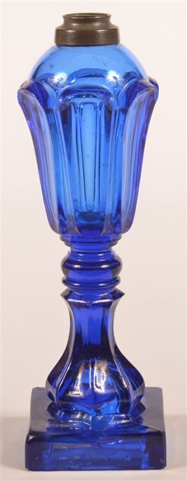 19th Century Cobalt Blue Flint Glass Fluid Lamp.
