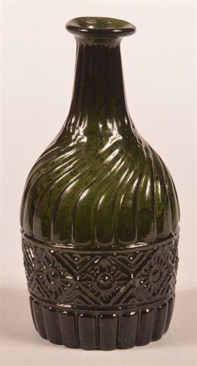 Very Rare Dark Olive Green Blown Pint Bottle.