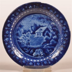Historical Staffordshire Blue Transfer Cup Plate.