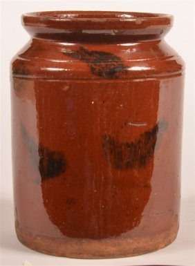 Pa Mottle Glazed Redware Storage Crock.