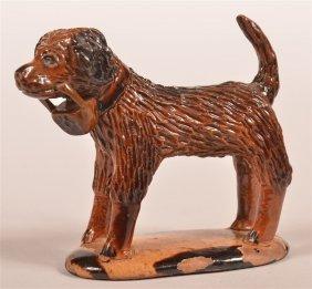 Glazed Redware Pottery Figure Of A Dog.