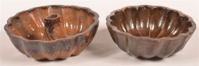 Two Glazed Redware Pottery Food Molds.